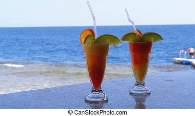 exotique, barre, mer, cocktail, compteur, fond, frais, rouges