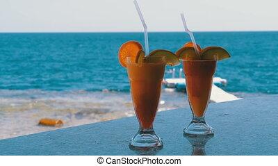 exotique, barre, mer, compteur, cocktails, fond, rouges