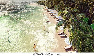 exotique, bleu, baigner, gens, île, sur, sky., rendering., arbres, exotique, ensoleillé, paume, plage blanche, jour, 3d