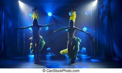 exotique, bleu, enfumé, danseurs, carnaval, studio., femme, danse, lent, silhouettes, motion., femmes, fond, costumes, mouvement, contre, sombre, brésilien, lighting., néon, jeune, plume