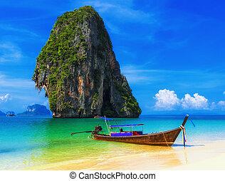 exotique, bleu, plage., ciel, exotique, sable, traditionnel,...