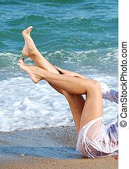 exotique, bronzage, jambes, plage