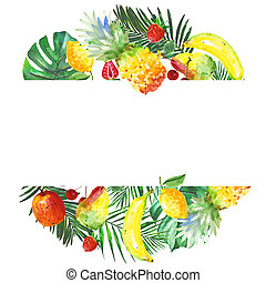 exotique, cadre, composition, aquarelle, fruit, sauvage, style.