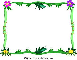 exotique, cadre, fleur, tiges