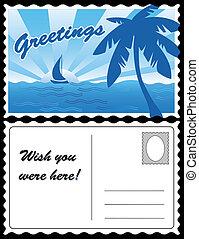 exotique, carte postale, voyage, frais