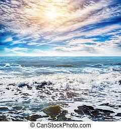 exotique, ciel, fond, océan