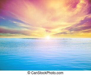 exotique, ciel, nuages, océan