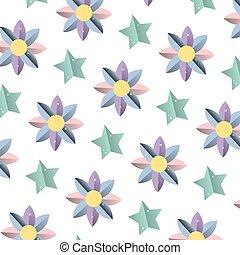 exotique, clair, fleur, étoile, fond