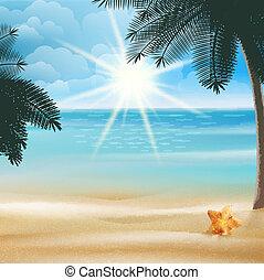 exotique, conception, plage, template., etoile mer