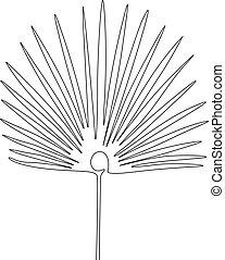 exotique, continu, dessin, une, exotique, ventilateur, ligne, palm., plant.