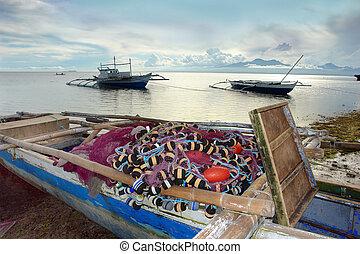 exotique, coucher soleil, bateau pêche