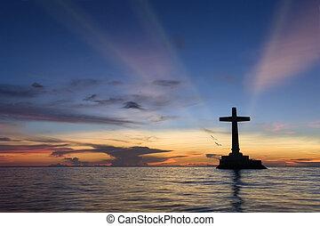 exotique, coucher soleil, croix, silhouette.