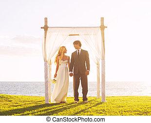 exotique, coucher soleil, mariage