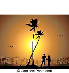 exotique, coucher soleil, plage