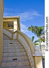 exotique, courber, escalier