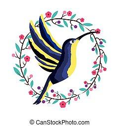exotique, couronne, fleur, colibri, oiseau