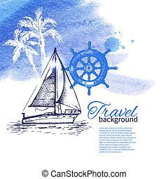 exotique, croquis, voyage, illustration, main, aquarelle, fond, dessiné, design.