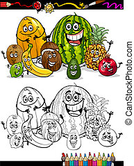 exotique, dessin animé, livre coloration, fruits