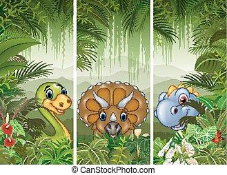 exotique, dinosaure, ensemble, forêt, fond