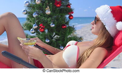 exotique, dolly:, plage, vacances noël