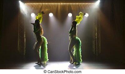 exotique, enfumé, danseurs, carnaval, studio., femme, danse, lent, silhouettes, motion., femmes, fond, costumes, mouvement, contre, sombre, brésilien, lighting., néon, jeune, plume