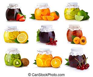exotique, ensemble, isolé, verre, confiture, fruits, pots