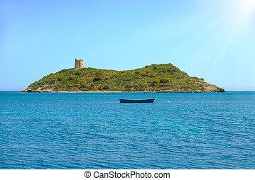 exotique, entouré, bleu, mer, île, confortable