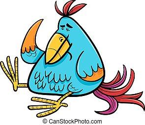 exotique, fantasme, oiseau, illustration, dessin animé
