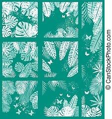 exotique, feuilles, arrière-plan vert