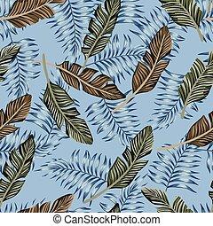 exotique, feuilles bleu, seamless, fond
