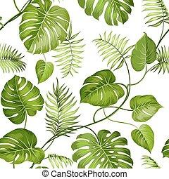 exotique, feuilles, design.