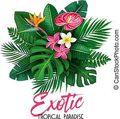 exotique, feuilles, fleur, bannière