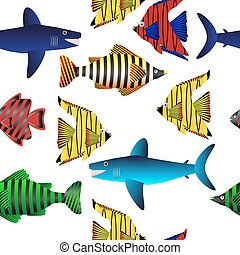 exotique, fish., pattern., seamless