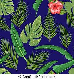 exotique, fleur bleue, feuille, illustration., résumé,...