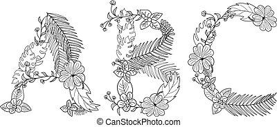 exotique, floral, a, lettre