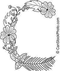 exotique, floral, c, lettre