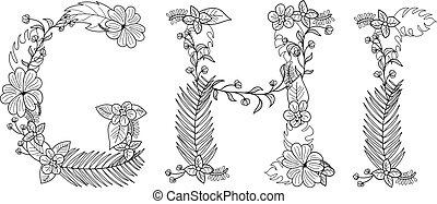 exotique, floral, g, lettre