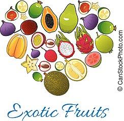 exotique, forme coeur, fruits, icônes