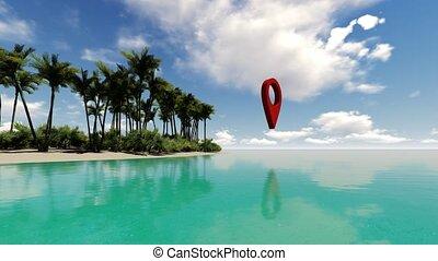 exotique, geolocation, étiquette, île
