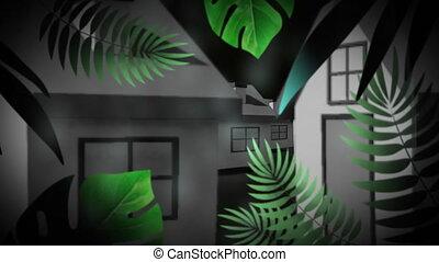 exotique, gris, animation, maison, plante verte