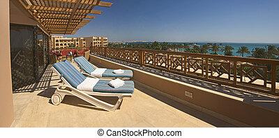exotique, hôtel, luxe, balcon