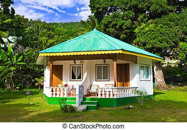 exotique, hôtel, plage, bungalow