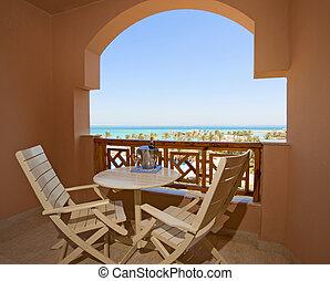 exotique, hôtel, vue, luxe, balcon