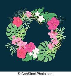 exotique, hibiscus, fleurs, wreath., orchidée