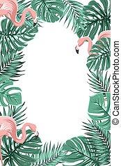 flamant rose feuilles exotique paume jungle fleurs vecteur search clip art. Black Bedroom Furniture Sets. Home Design Ideas
