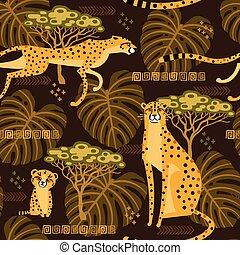 exotique, jungle., savannah., modèle, voyage, seamless, illustration, stylisé, répété, vecteur, fond, chats sauvages, léopards, guépards