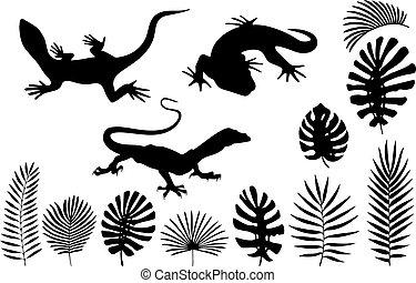 exotique, lézards, feuilles, gecko, silhouettes