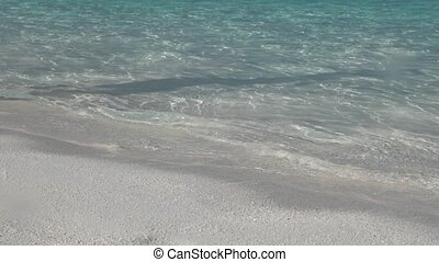 exotique, lent, course, femme, pieds nue, plage, par, unrecognizable, motion.
