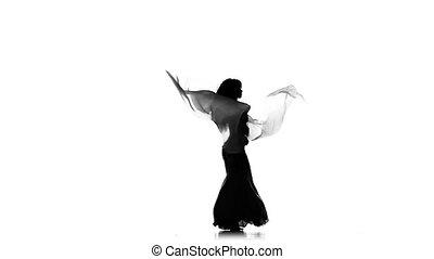 exotique, lent, femme, silhouette, continuer, mouvement, mince, ventilateurs, danse, danseur, usages, ventre, blanc