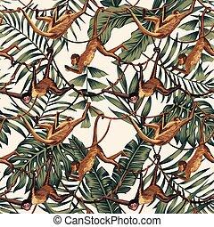 exotique, lianes, feuilles, singes, fond
